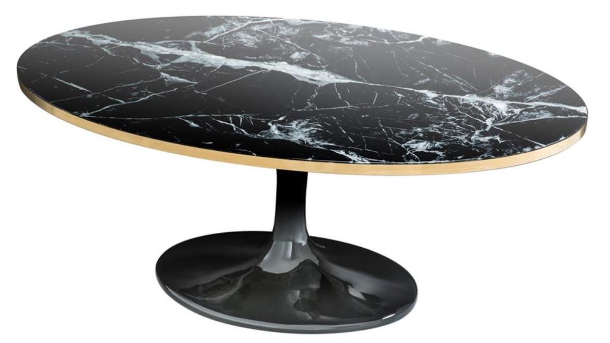 Casa padrino luxus couchtisch oval schwarz messingfarben for Couchtisch oval schwarz