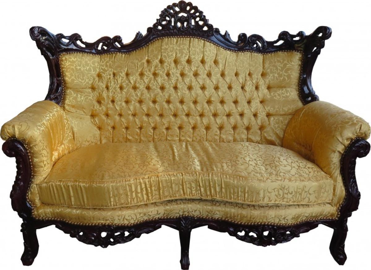 Casa Padrino Barock 2 Er Sofa Master Gold Muster / Mahagoni Braun   Antik  Stil