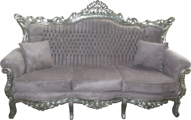 Casa Padrino Barock 3er Sofa Master Grau / Silber Mod1 - Wohnzimmer ...