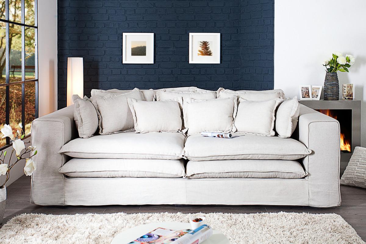 Casa Padrino Designer Wohnzimmer Sofa in creme - Luxus Qualität ...
