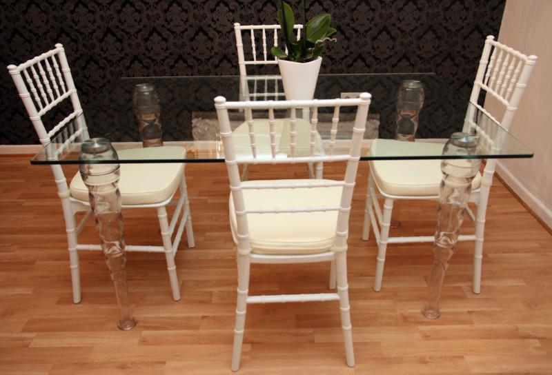 designer acryl esszimmer set wei creme ghost chair table polycarbonat m bel 1 tisch 4. Black Bedroom Furniture Sets. Home Design Ideas