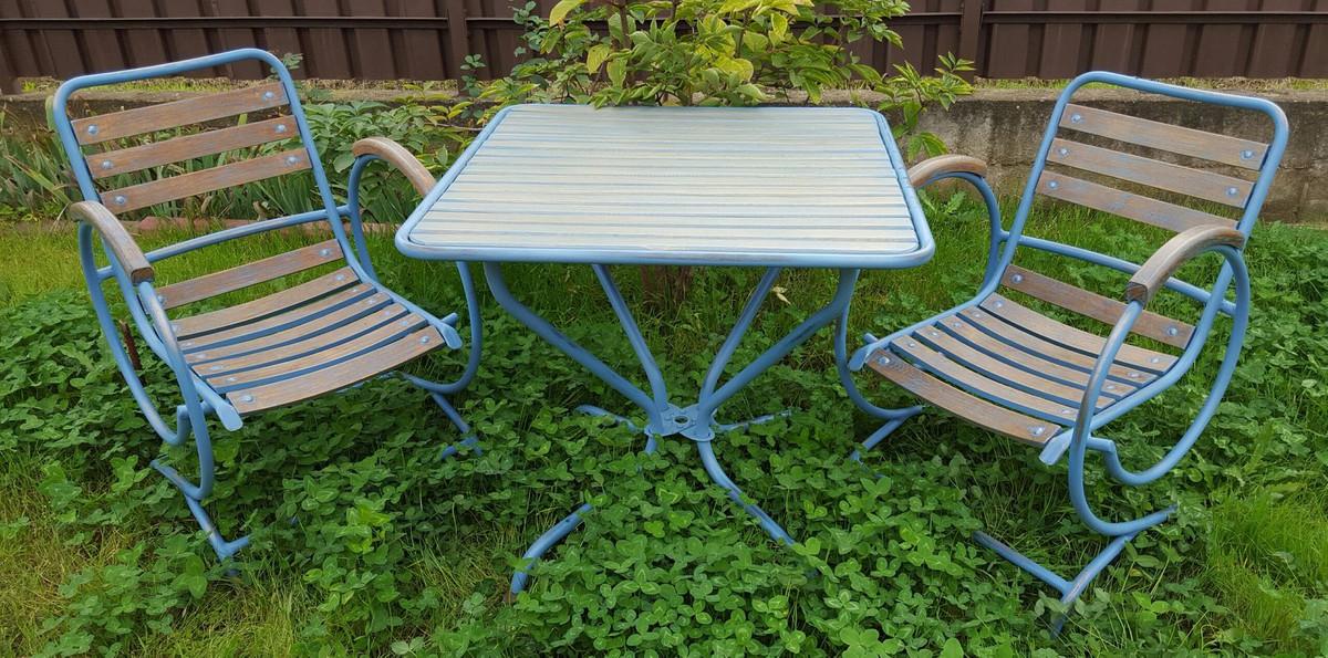 Casa Padrino Jugendstil Gartenmobel Set Vintage Hellblau Braun Handgefertigtes 3 Teiliges Gartenset Mit Tisch Und 2 Stuhlen Kaufen Bei Demotex Gmbh