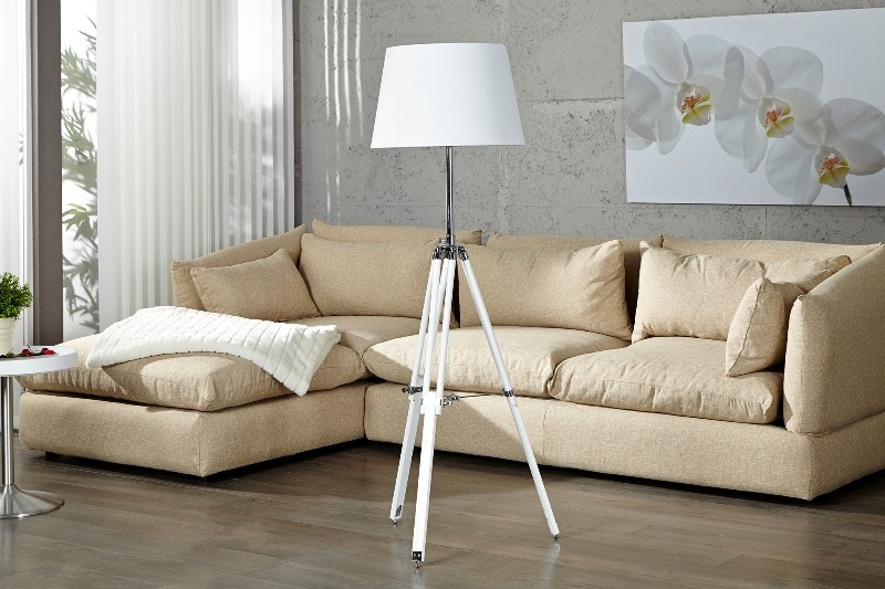 elegante stativ lampe stehleuchte mit wei em schirm tripod floor lamp h 91 153 cm kaufen. Black Bedroom Furniture Sets. Home Design Ideas
