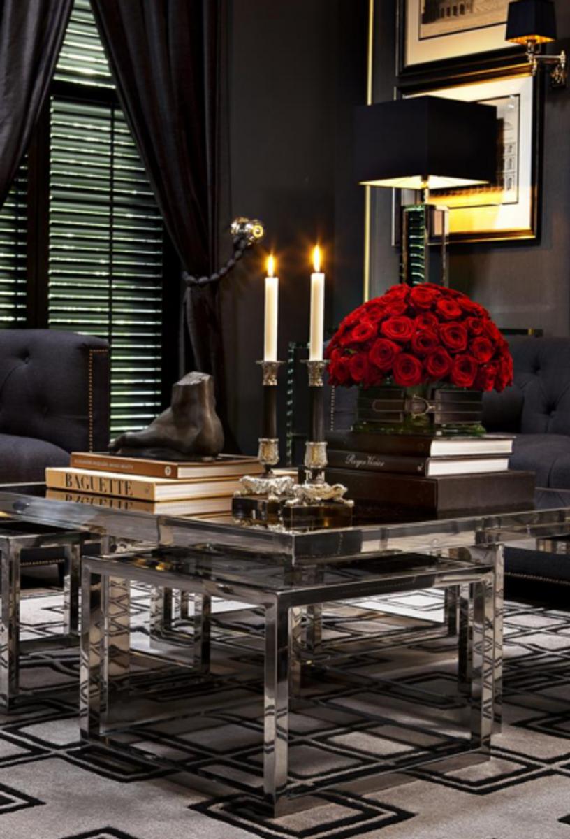 Casa Padrino Luxus Art Deco Designer Couchtisch 5er Set mit Rauchglas -  Wohnzimmer Salon Tisch - Luxus Qualität