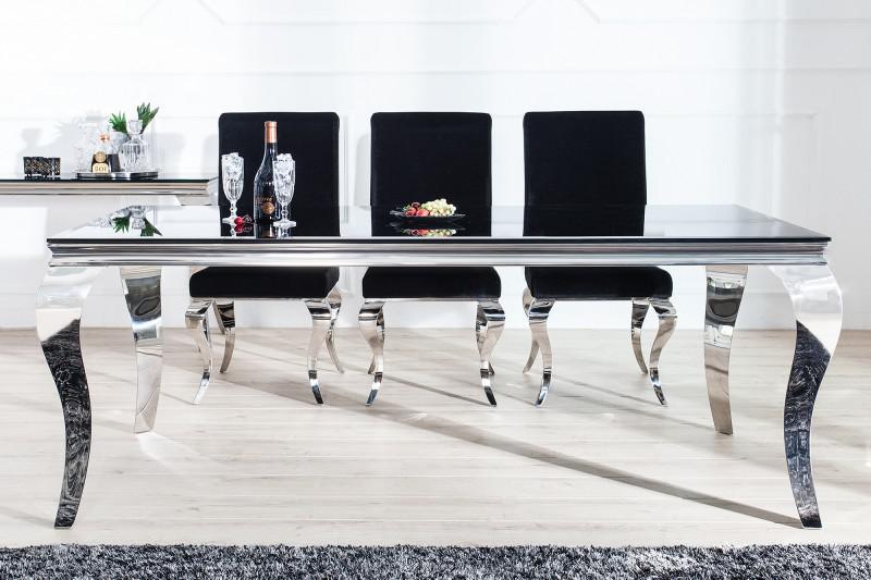 Casa Padrino Luxus Esszimmer Set Schwarz / Silber - Esstisch 200