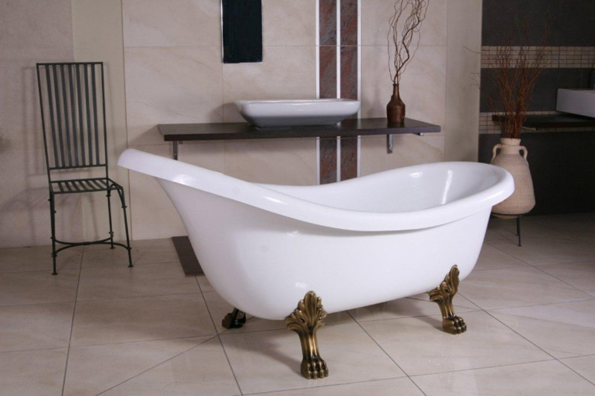 Freistehende Luxus Badewanne Jugendstil Sicilia Weiss Altgold 1740mm