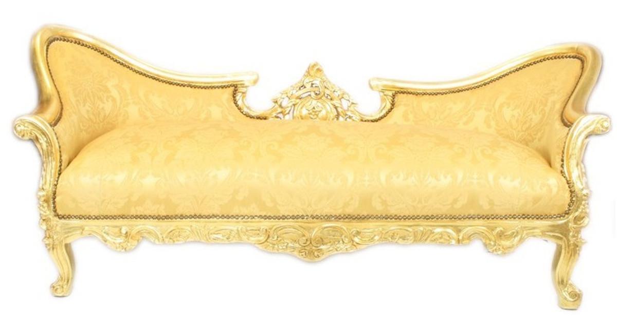 Casa Padrino Barock Sofa Garnitur Vampire Gold Blumen Muster / Gold ...