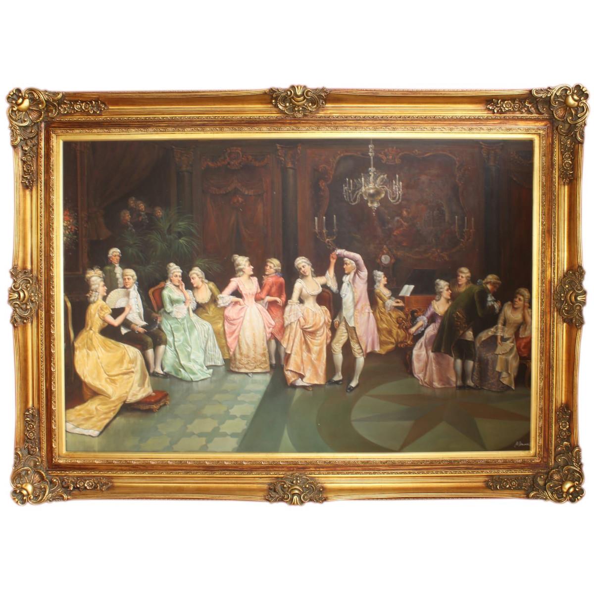Riesiges Handgemaltes Barock Öl Gemälde Konzert im Ballsaal Gold ...