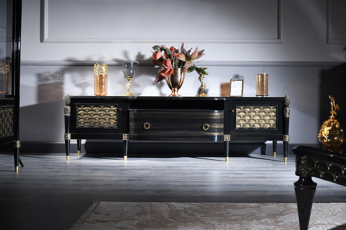 Casa Padrino Luxus Barock Fernsehschrank Schwarz / Gold 9 x 9 x H. 9 cm  - Barock Wohnzimmerschrank mit 9 Türen und Schublade
