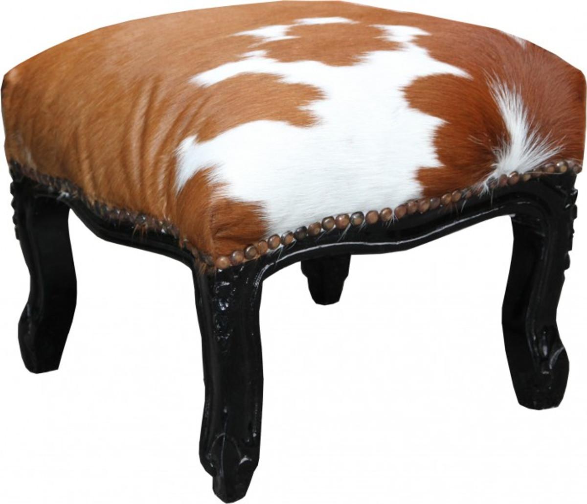 casa padrino barock fu hocker kuhfell schwarz antik. Black Bedroom Furniture Sets. Home Design Ideas