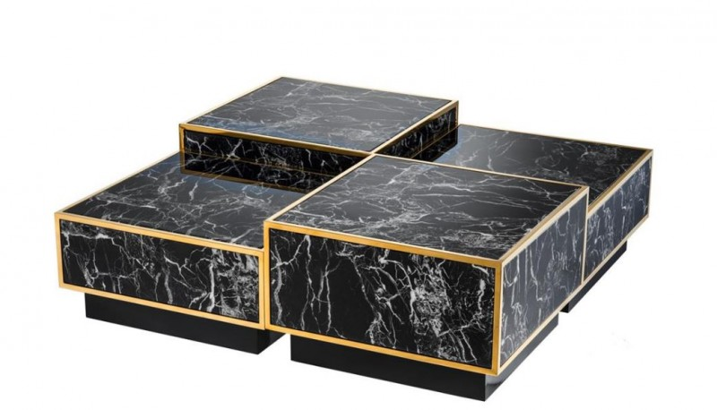 casa padrino art deco luxus couchtisch kunstmarmor gold finish 4er set wohnzimmer salon tisch. Black Bedroom Furniture Sets. Home Design Ideas