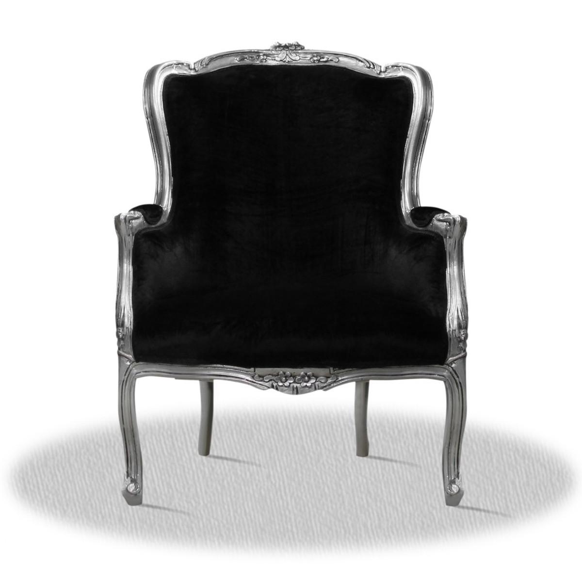 Casa Padrino Barock Salon Wohnzimmer Sessel Silber Schwarz 70 x 65 x ...