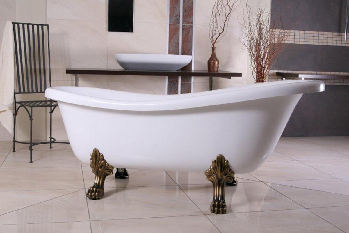Freistehende Luxus Badewanne Jugendstil Roma Weiss Altgold 1560mm