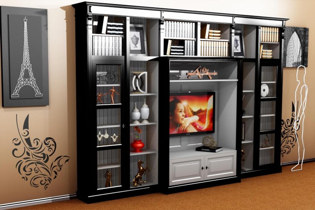 Casa Padrino Luxus Wohnzimmer Schrankwand Schwarz Weiss B 372 X H 255 Cm Bucherregal Regal Schrank Fernseh Tv Art Deco Jugendstil Hotel Mobel