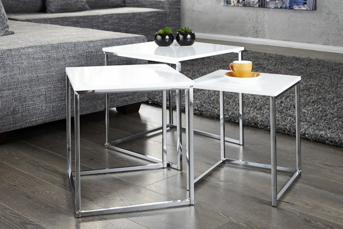 Casa Padrino 3er Set Beistelltische Weißchrom Beistell Tisch Set