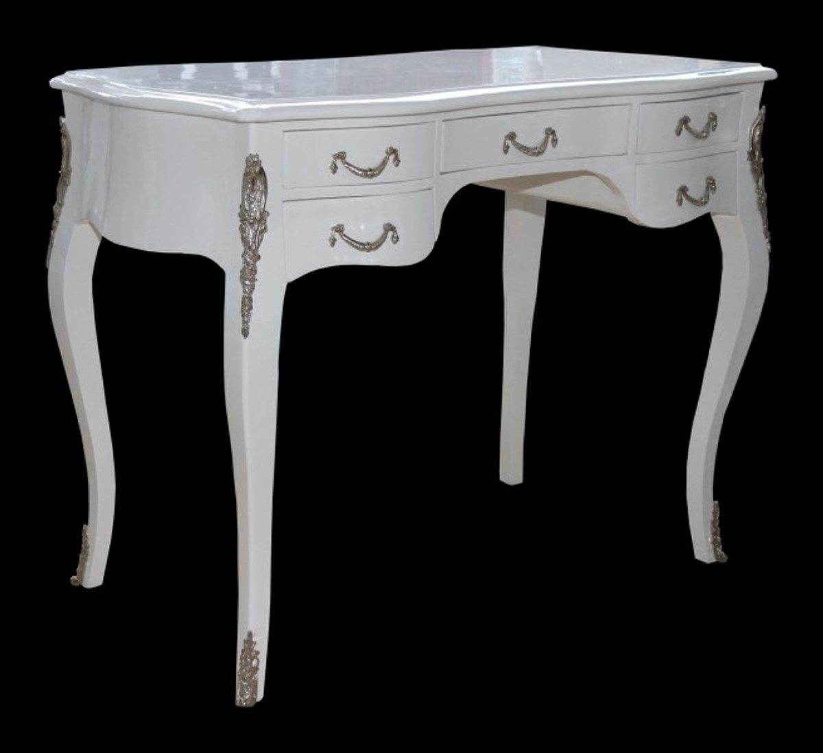 casa padrino luxus barock schreibtisch wei hochglanz silber 100 x 80 x 58 cm sekret r luxus. Black Bedroom Furniture Sets. Home Design Ideas