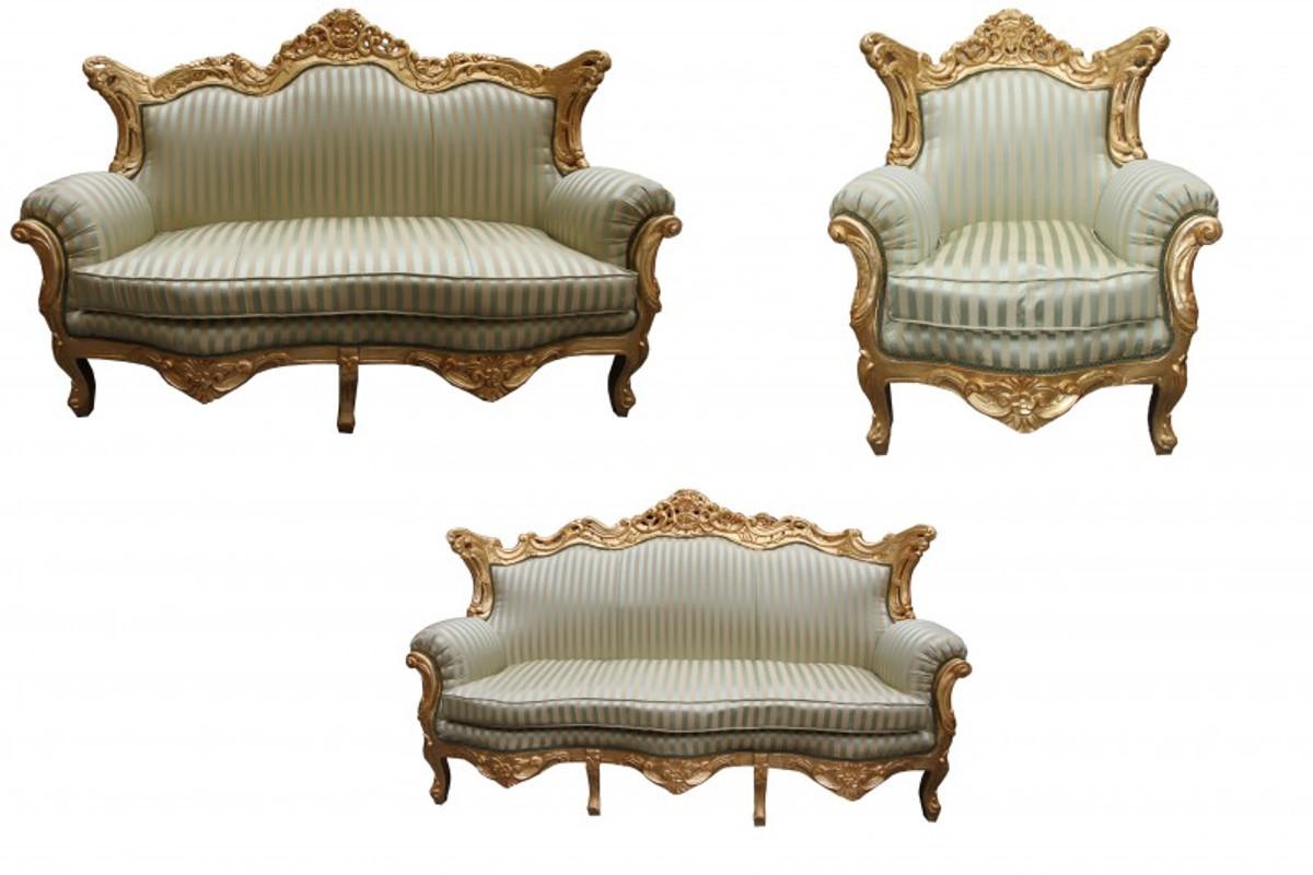 AuBergewohnlich Casa Padrino Barock Wohnzimmer Set Jadegrün/ Gold   3er Sofa+2er Sofa + 1  ...