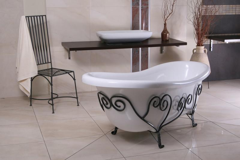 freistehende luxus badewanne jugendstil mediterran wei. Black Bedroom Furniture Sets. Home Design Ideas