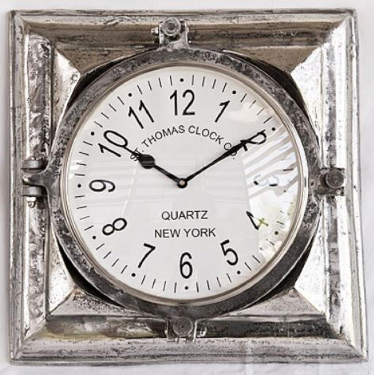 Casa Padrino Luxus Wanduhr Silber 40 x 9 x H 41 cm