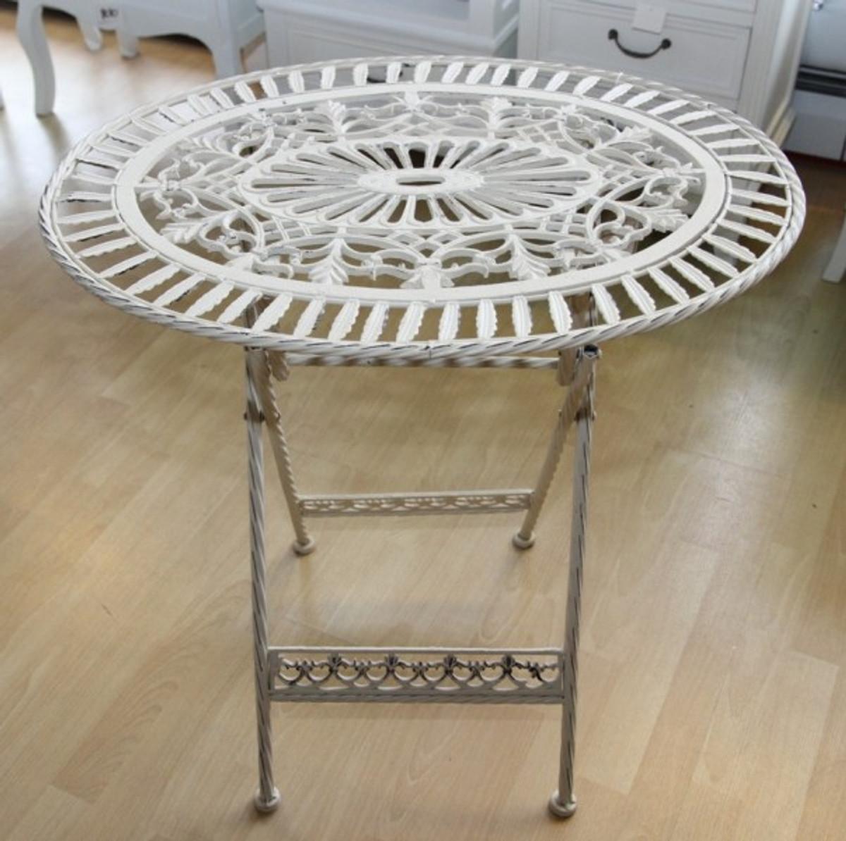Gartentisch klappbar oval  Jugendstil Gartenmöbel Tisch Altweiss Oval - Garten Tisch Klappbar ...