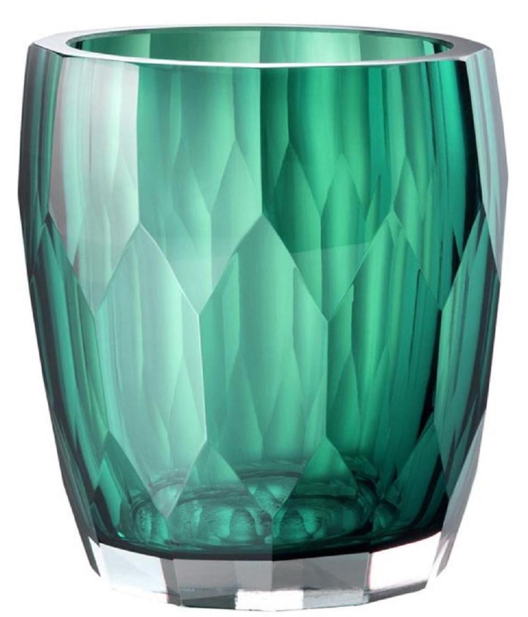 Casa Padrino Luxus Deko Glas Vase Grün ø 12 X H 14 Cm Luxus Qualität