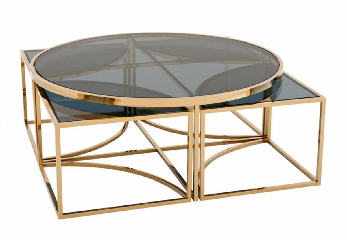 Casa Padrino Art Deco Luxus Couchtisch Gold Finish Wohnzimmer