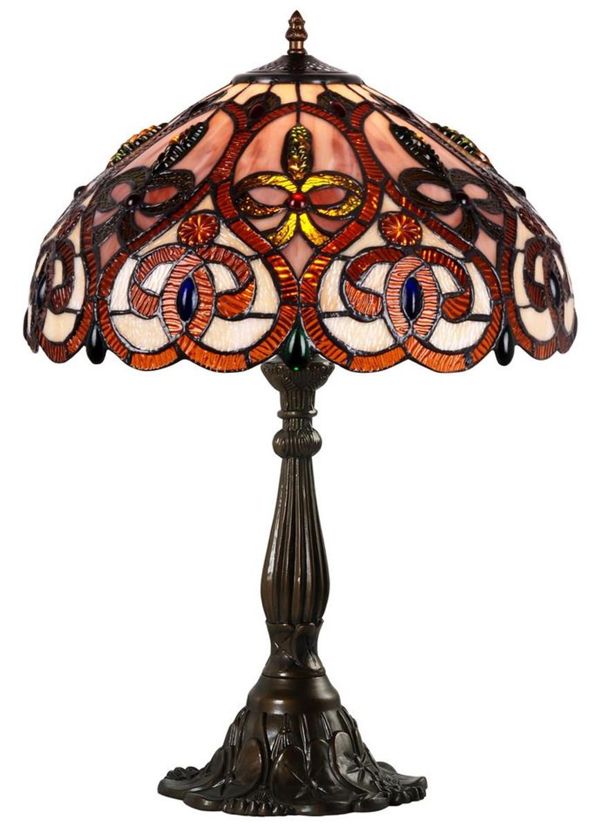 Casa Padrino Tiffany Tischleuchte Mehrfarbig Ø 8 x H. 8 cm - Luxus  Wohnzimmer Tischlampe