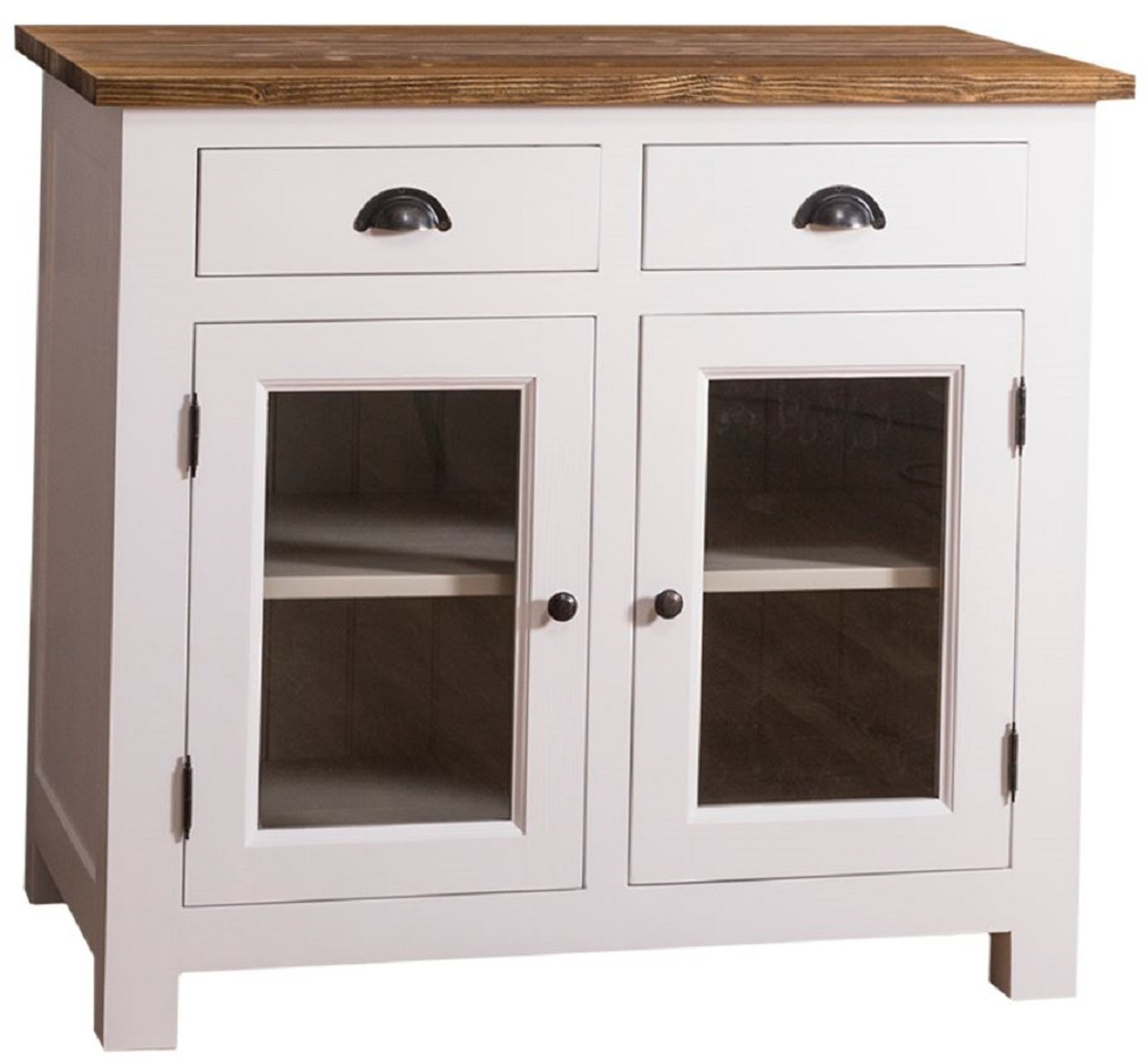 Casa Padrino Landhausstil Küchenschrank mit 2 Glastüren und 2 Schubladen  Weiß / Grau / Braun 100 x 65 x H. 90 cm - Küchenmöbel im Landhausstil