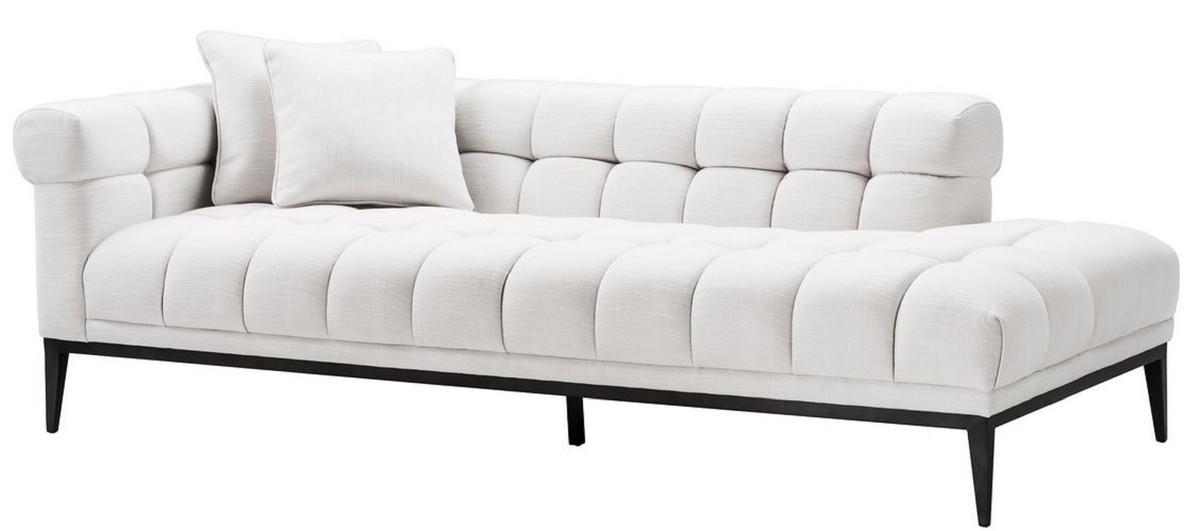Casa Padrino Luxus Lounge Sofa Weiß / Schwarz 223 x 98 x H. 69 cm -  Linksseitiges Wohnzimmer Sofa mit 2 Kissen - Luxus Qualität