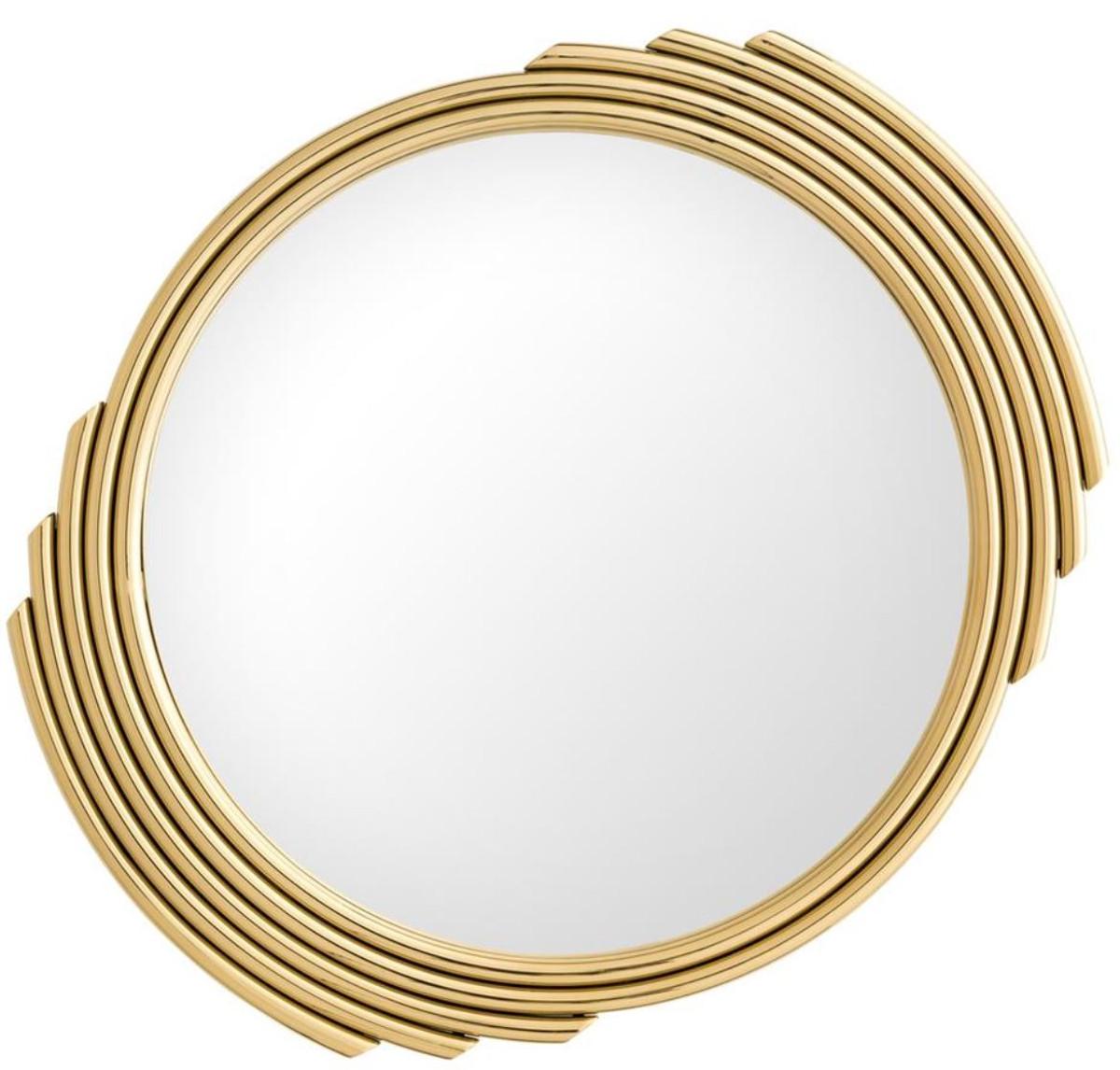 Casa Padrino Designer Edelstahl Spiegel Gold Ø 6 cm - Luxus Wohnzimmer  Wandspiegel