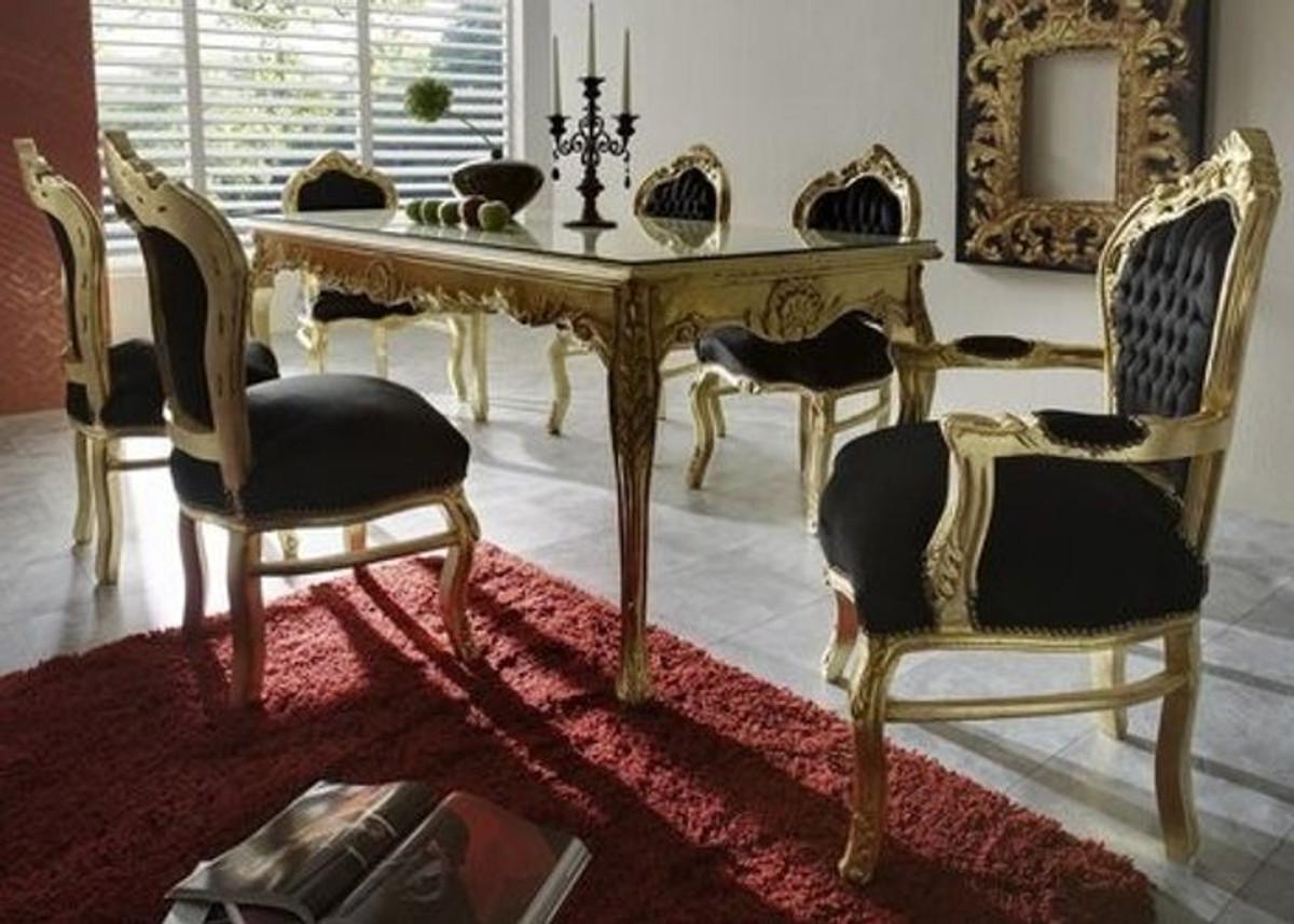 Casa Padrino Barock Esszimmer Set Schwarz Gold Esstisch