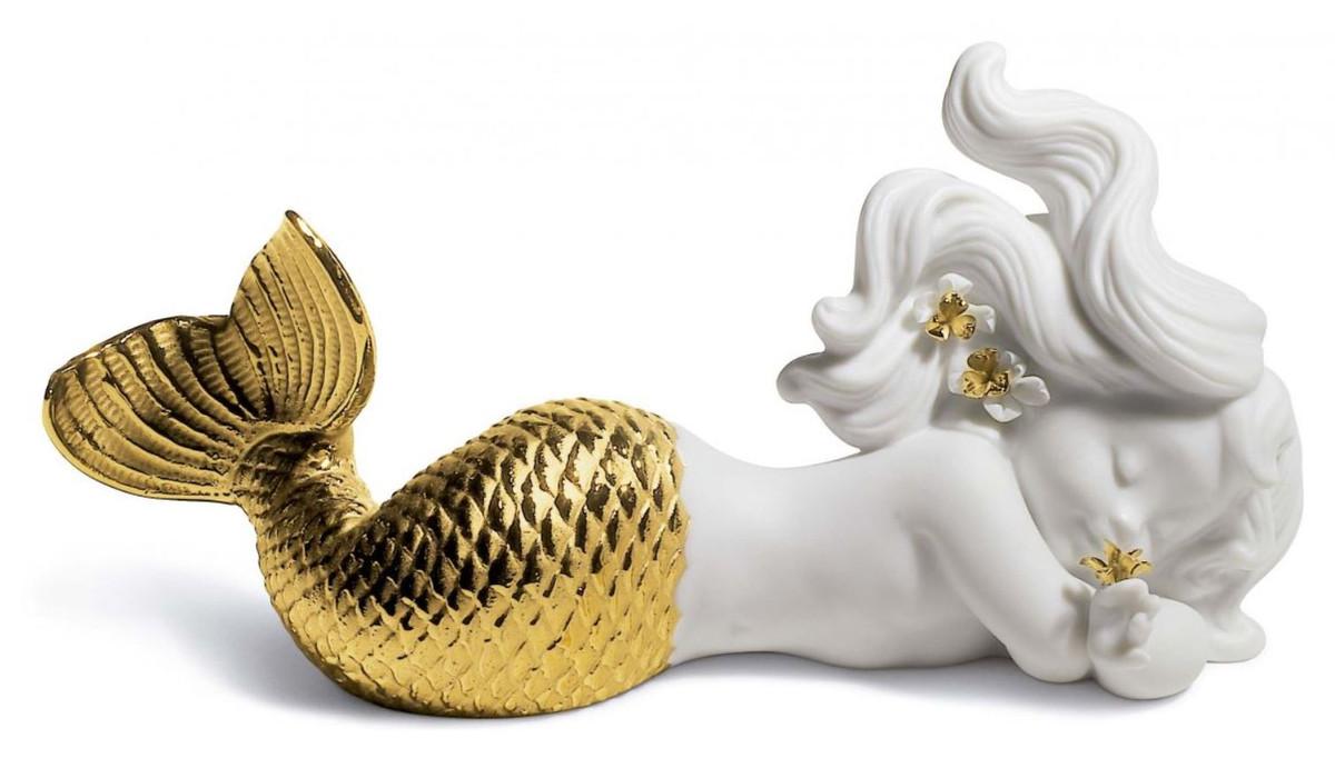 Casa Padrino Luxus Porzellan Figur Meerjungfrau Weiss Gold 16 X H