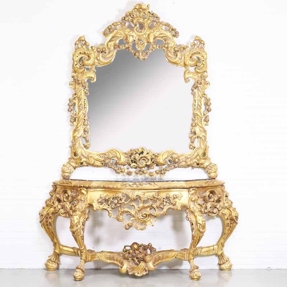 casa padrino luxus barock spiegelkonsole mit marmorplatte gold 180 x h270 cm hotel mobel