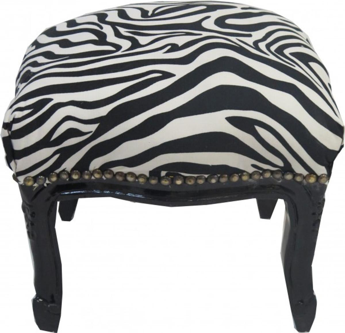 casa padrino barock fu hocker zebra schwarz antik stil. Black Bedroom Furniture Sets. Home Design Ideas