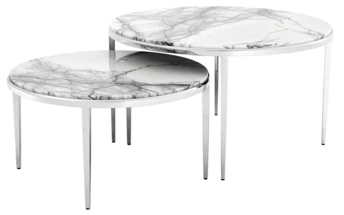 Casa Padrino Luxus Couchtisch 2er Set Silber Weiß