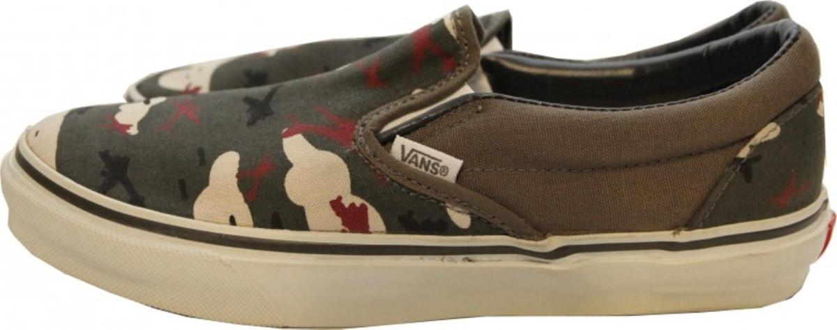 Vans Skateboar Schuhe Classic Slip-On Camo Grün - Army Slipper Camo Grün