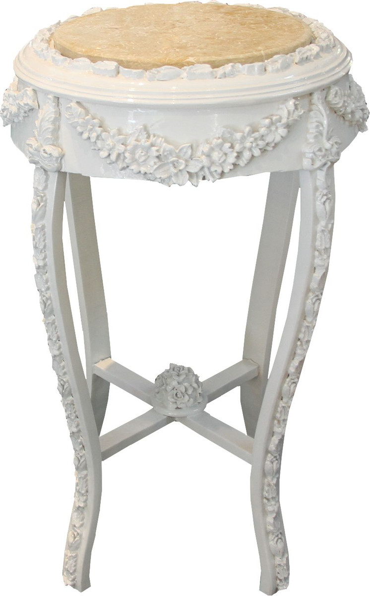 Casa Padrino Barock Beistelltisch Rund Flowers Mod2 Weiss Creme