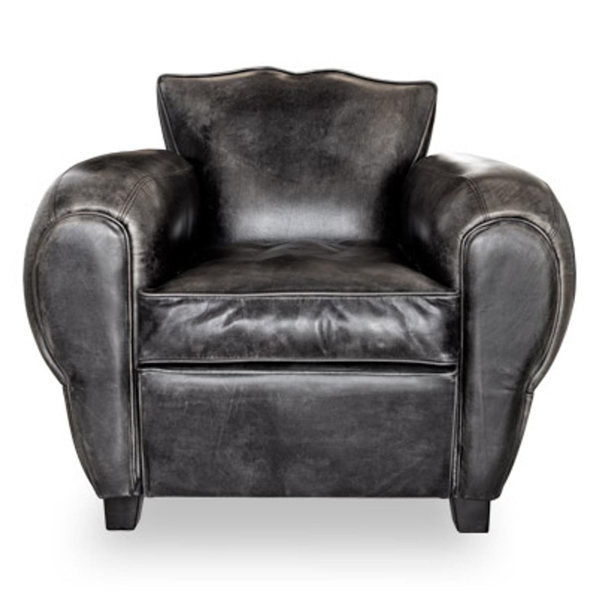 Art Deco Echtleder Sessel Buffalo Leder Antik Schwarz Clubsessel