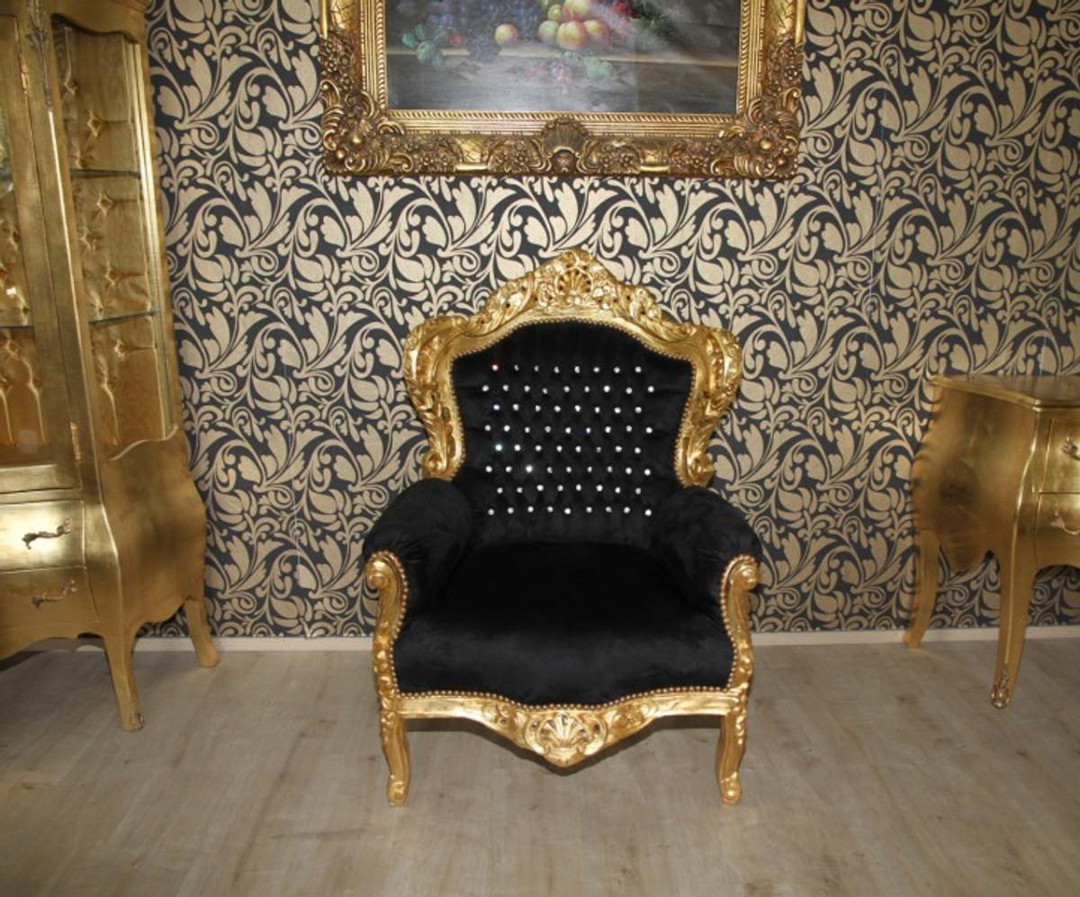 Casa Padrino Barock Sessel King Schwarz Gold Mit Glitzersteinen