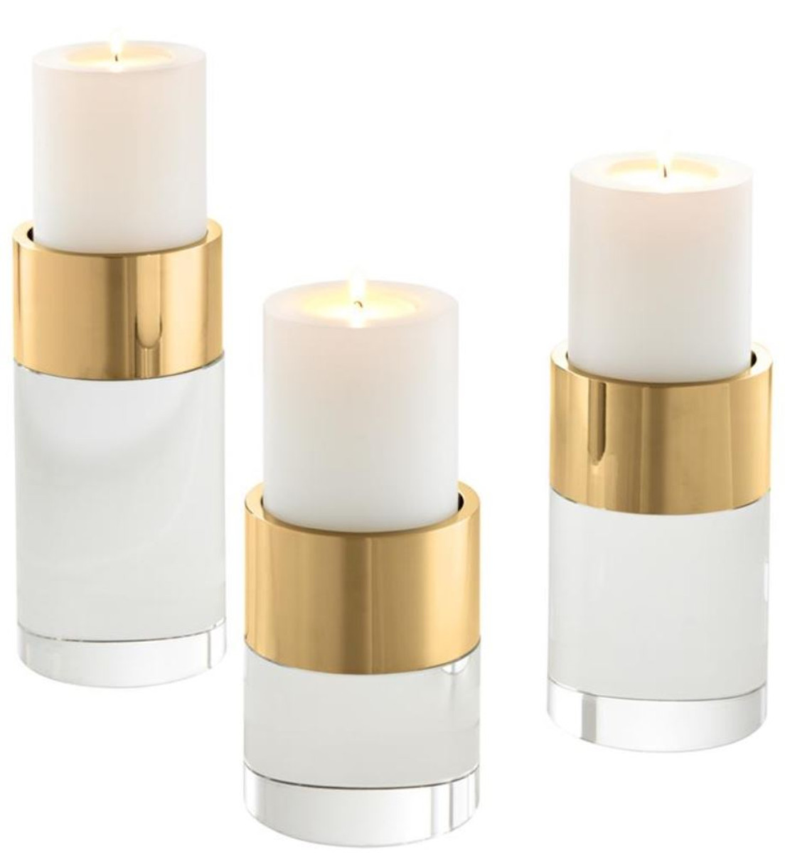 Casa Padrino Luxus Kristallglas Teelichthalter Set Gold - Wohnzimmer Deko