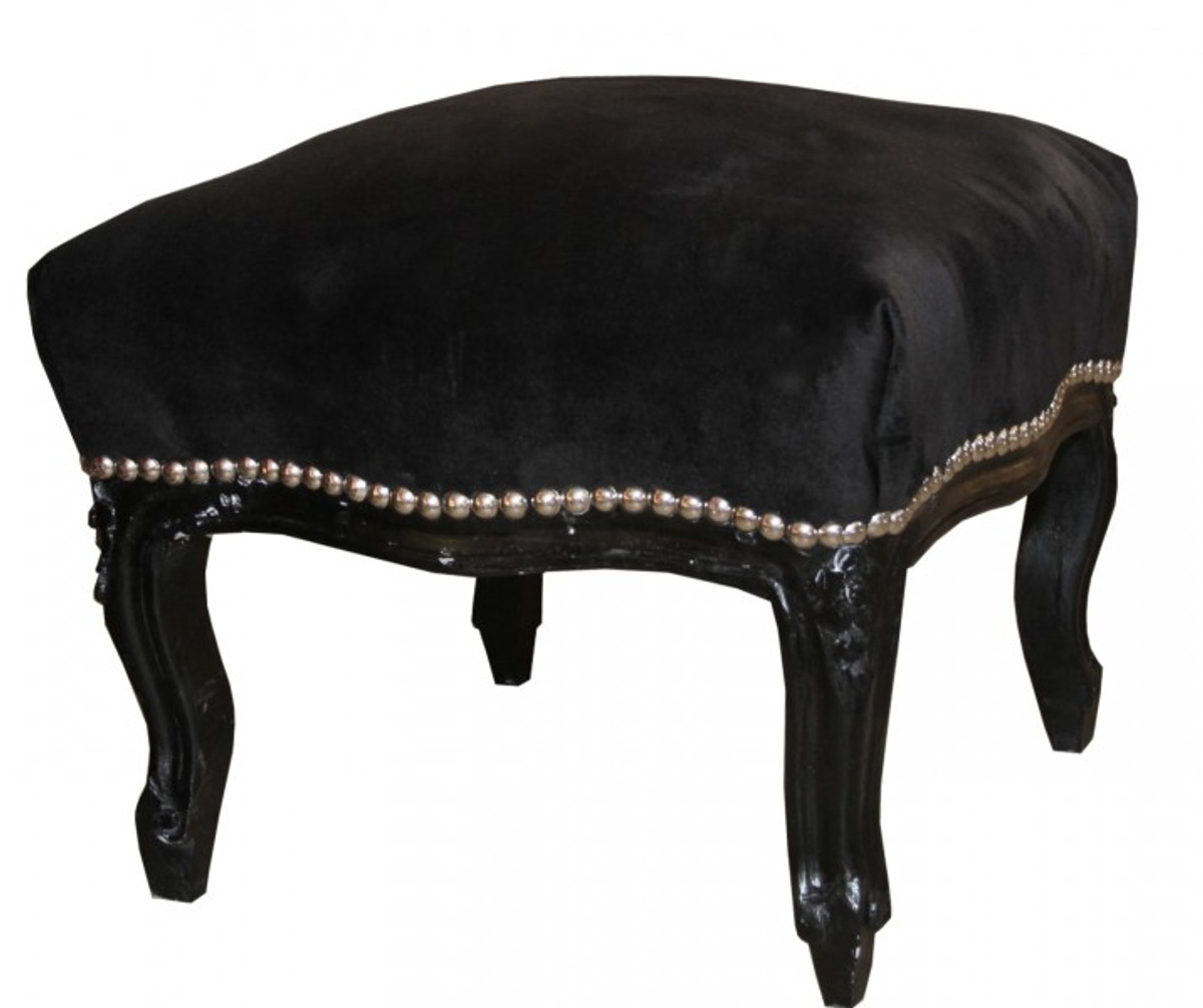 casa padrino barock fu hocker medium schwarz schwarz. Black Bedroom Furniture Sets. Home Design Ideas