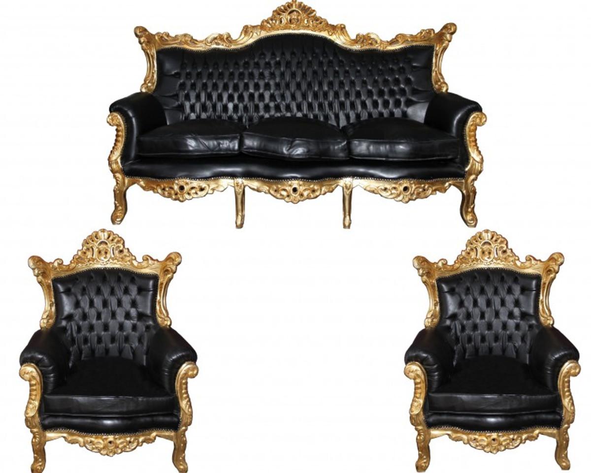 Casa Padrino Barock Wohnzimmer Set Master Schwarz / Gold Lederoptik Mod2 -  3-er Sofa + 2 Sessel