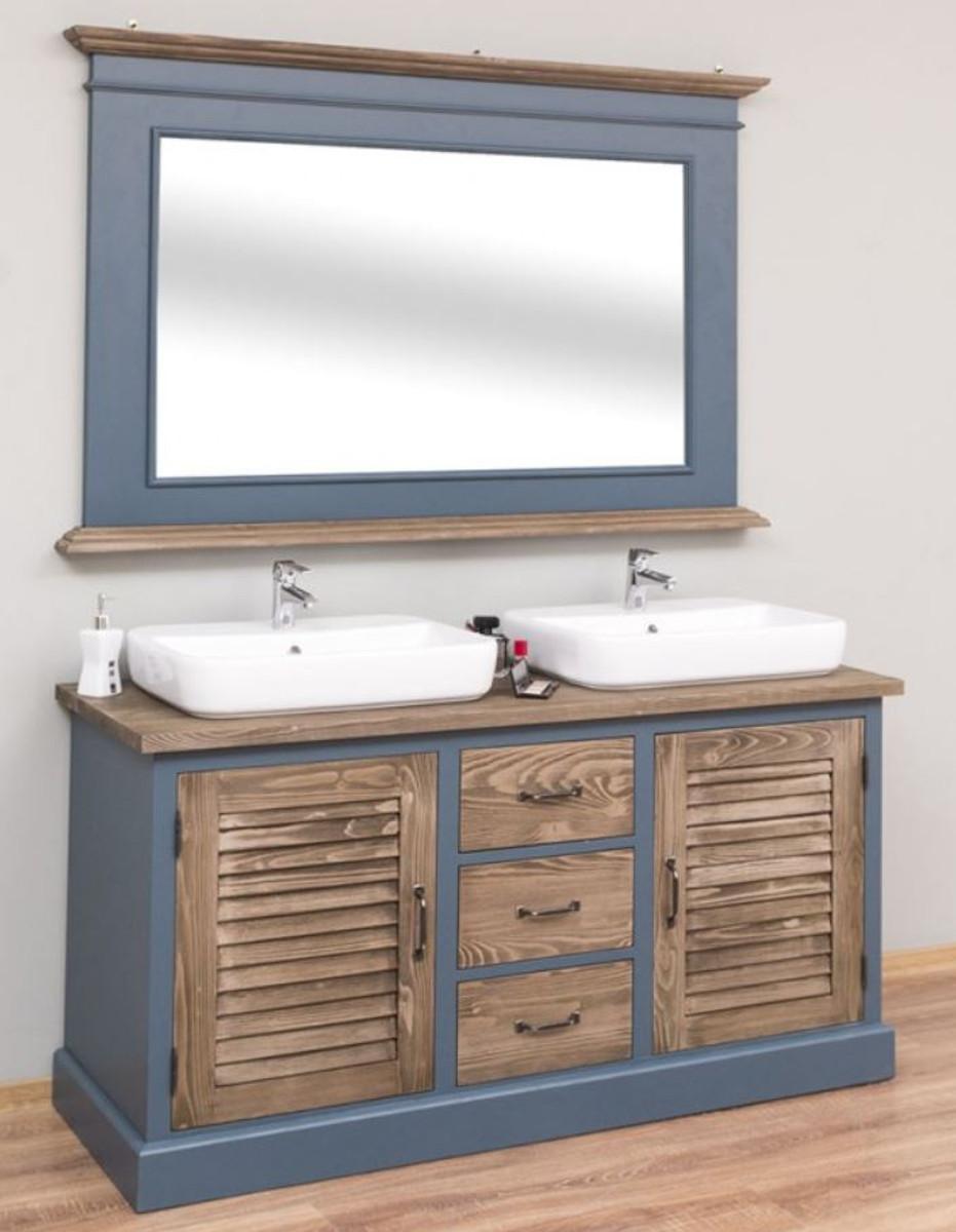 Casa Padrino Landhausstil Badezimmer Set Blau / Braun   20 Doppelwaschtisch  & 20 Wandspiegel   Landhausstil Badezimmer Möbel