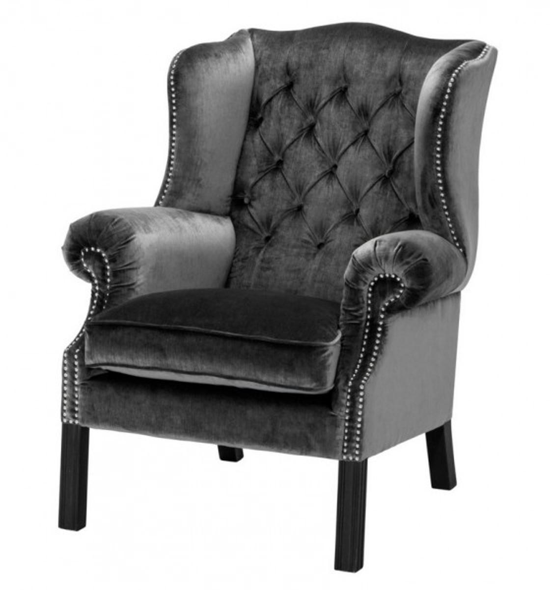 Casa Padrino Luxus Chesterfield Ohrensessel Grau Schwarz Sessel Mobel Kaufen Bei Demotex Gmbh