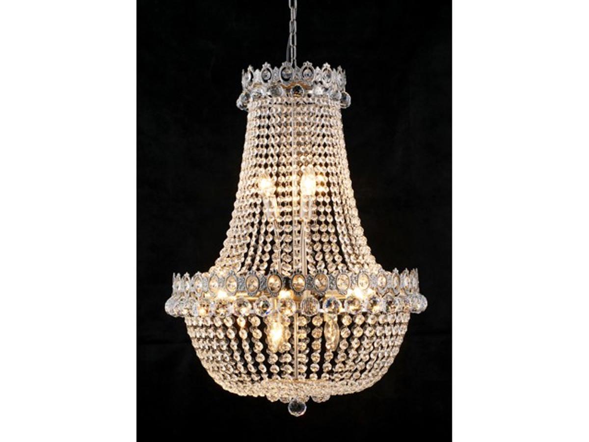 Barock Kronleuchter Vernickelt Mit Glaskristallen Länge 80 Cm Durchmesser  60 Cm Antik Stil   Möbel Lüster