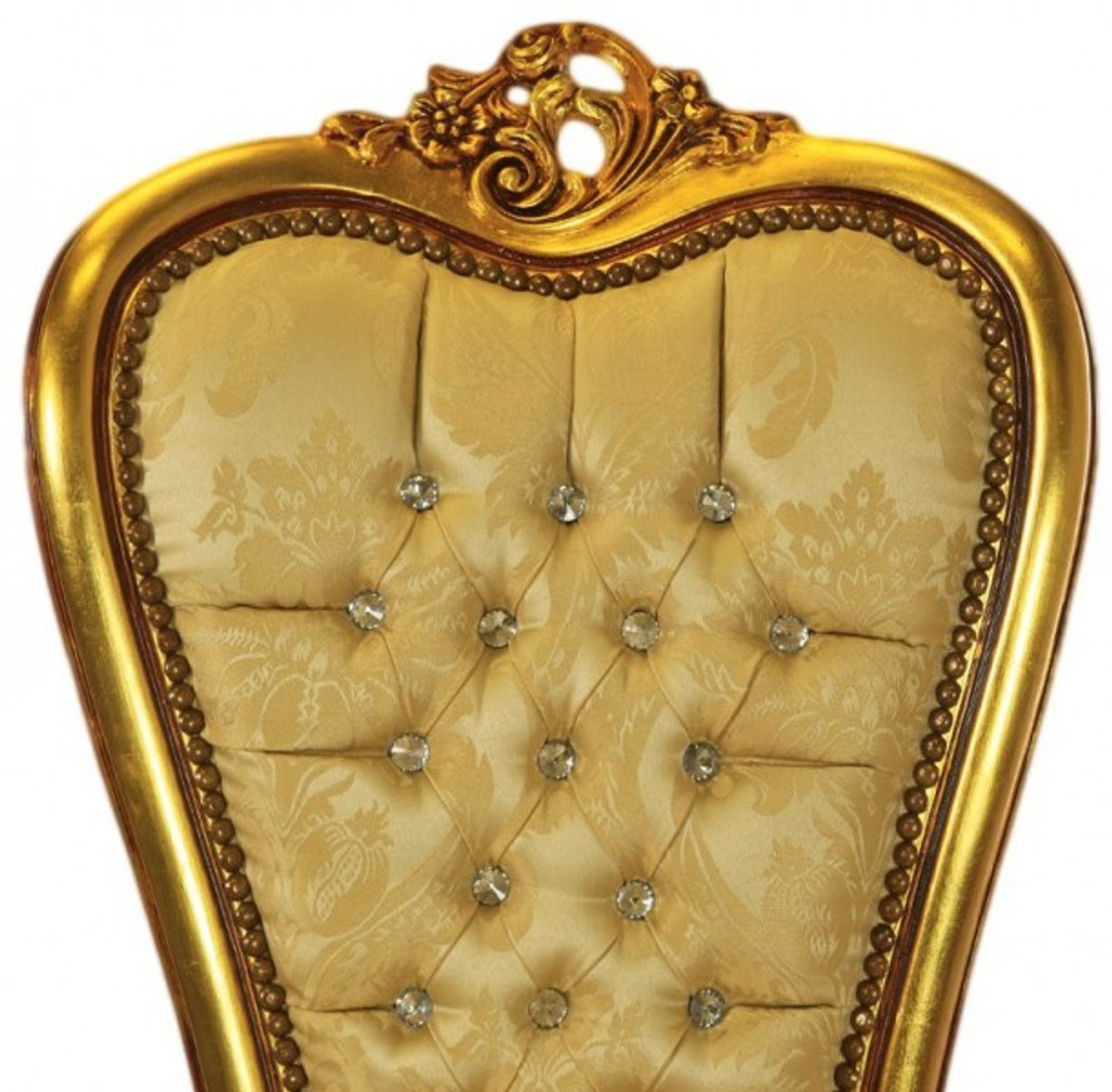 Casa Padrino Barock Thron Stuhl Queen Anne Gold Muster / Gold mit ...