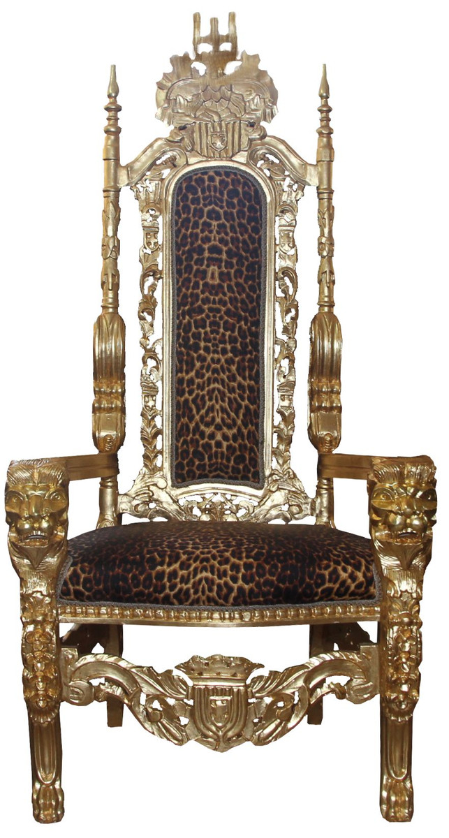 Casa Padrino Barock Thron Sessel Gold Leopard