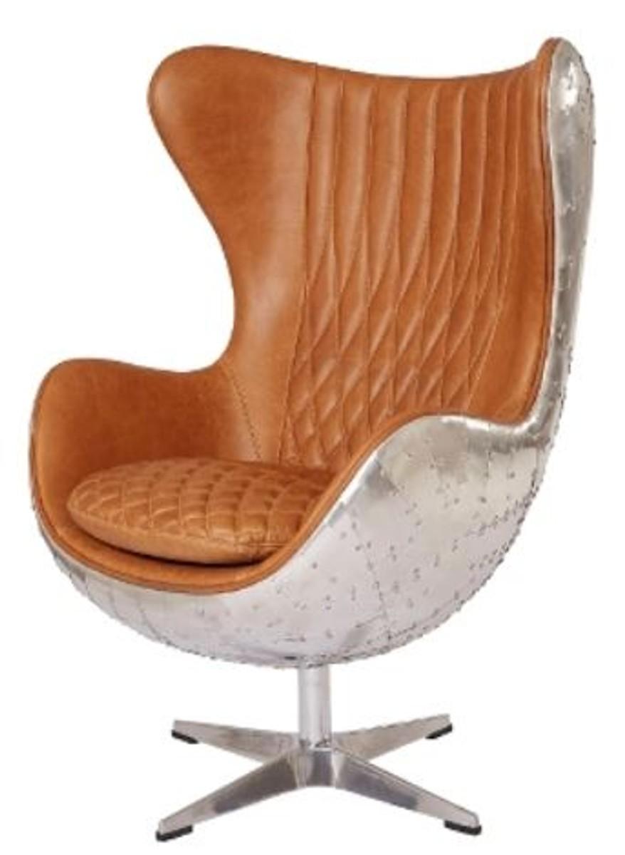 Casa Padrino Echtleder Egg Chair Braun Silber 87 X 77 X H 116 Cm