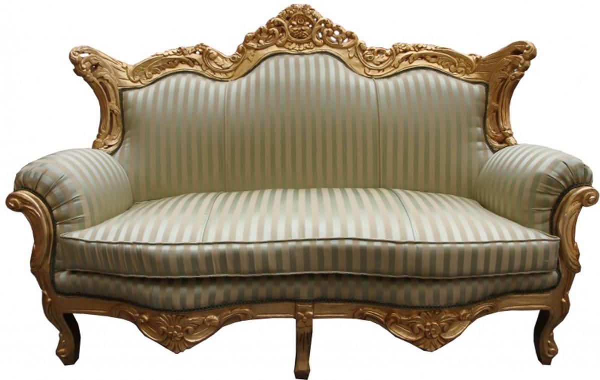Casa Padrino Barock 2er Sofa Master Jadegrün Beige Gold