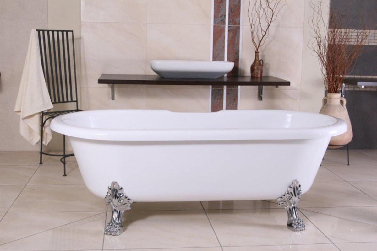 Freistehende Luxus Badewanne Jugendstil Milano Weiß/Silber - Barock ...